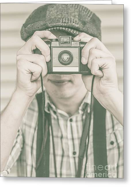 Media Exposure Greeting Cards - Paparazzi press photographer taking a picture Greeting Card by Ryan Jorgensen