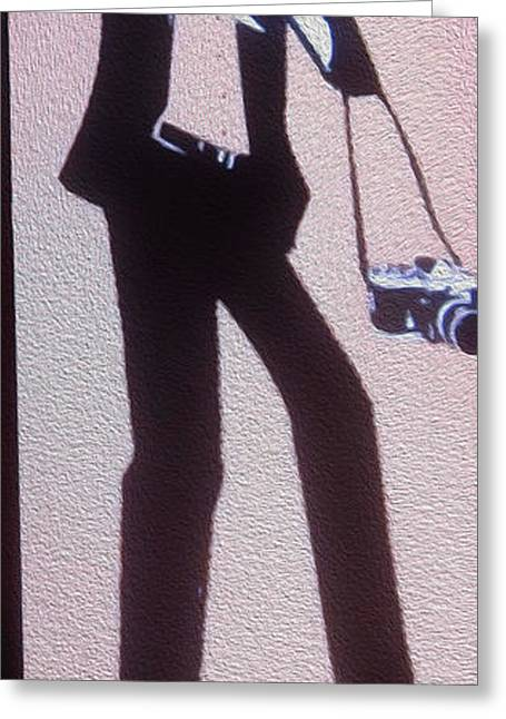 Tuxedo Greeting Cards - Paparazzi   single panel Greeting Card by Cheryl Young