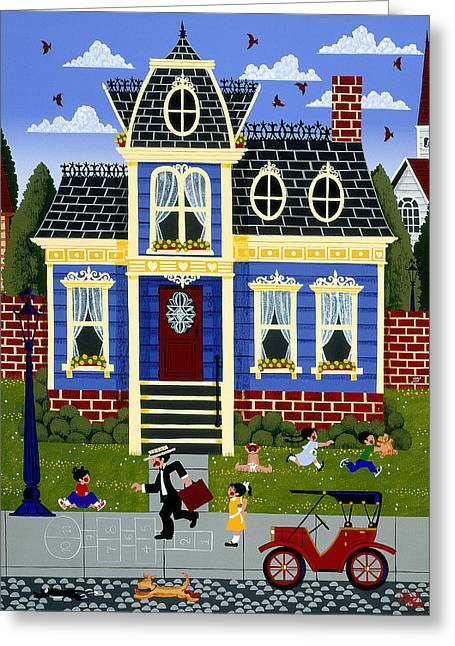 Hopscotch Greeting Cards - Papas Home Greeting Card by Merry  Kohn Buvia