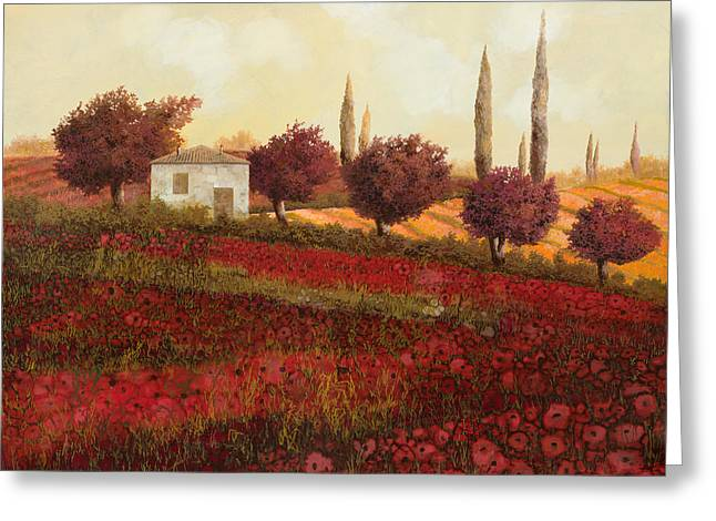 Cypress Greeting Cards - Papaveri In Toscana Greeting Card by Guido Borelli