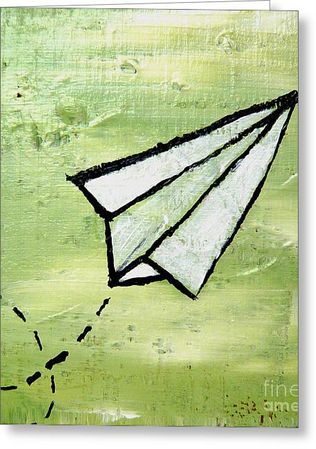 Paper Airplanes Paintings Greeting Cards - Paper Airplane Greeting Card by Wendy Barritt