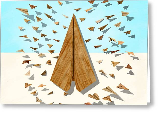 Paper Airplanes Greeting Cards - Paper Airplanes of Wood 10 Greeting Card by YoPedro