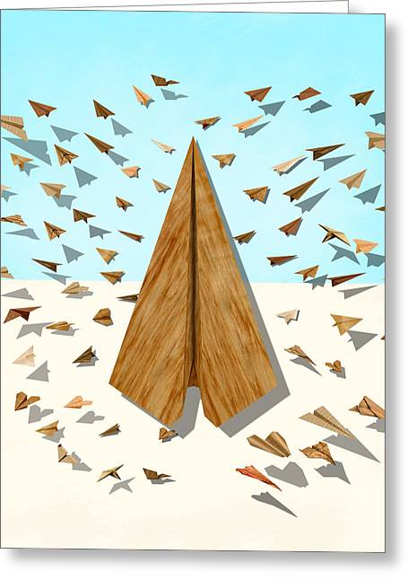 Paper Airplanes Of Wood 10 Greeting Card by YoPedro