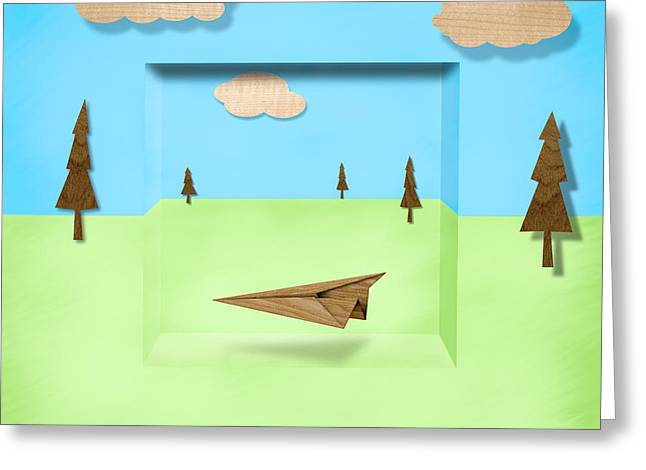 Paper Airplanes Greeting Cards - Paper Airplanes of Wood 11 Greeting Card by Yo Pedro