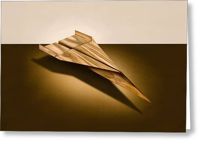Glider Greeting Cards - Paper Airplanes of Wood 3 Greeting Card by Yo Pedro