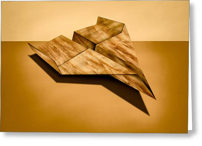 Glider Greeting Cards - Paper Airplanes of Wood 5 Greeting Card by Yo Pedro