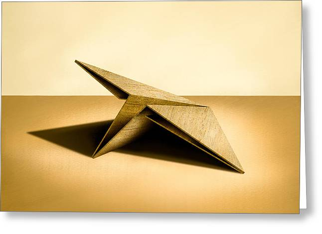 Plane Greeting Cards - Paper Airplanes of Wood 7 Greeting Card by Yo Pedro