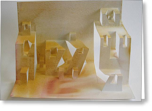 Buildings Sculptures Greeting Cards - Paper Architecture Greeting Card by Alfred Ng