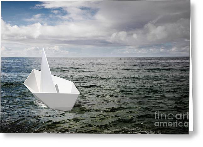Paper Boat Greeting Card by Carlos Caetano