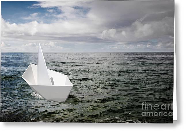 Paper Boat Greeting Card by Carlos Caetano