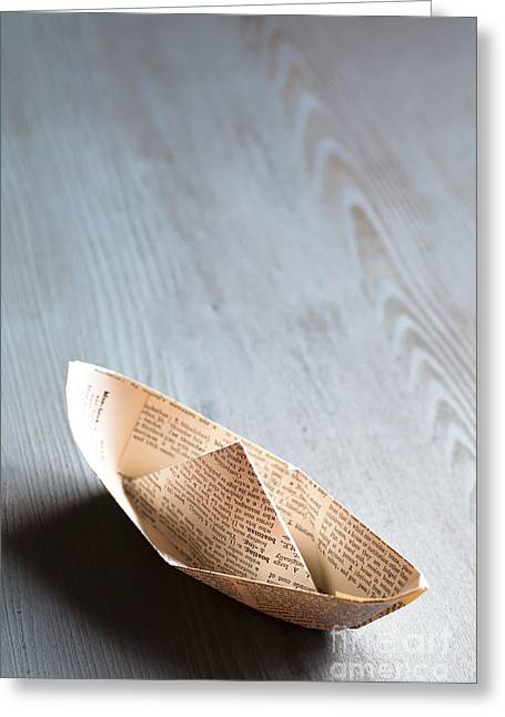 Wooden Ship Greeting Cards - Paper Boat Greeting Card by Jan Bickerton