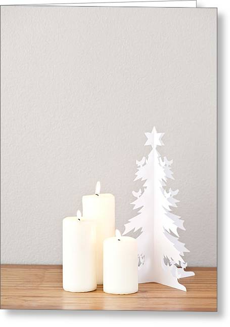 Paper Cut Greeting Cards - Paper Christmas tree and candles Greeting Card by Ulrich Schade