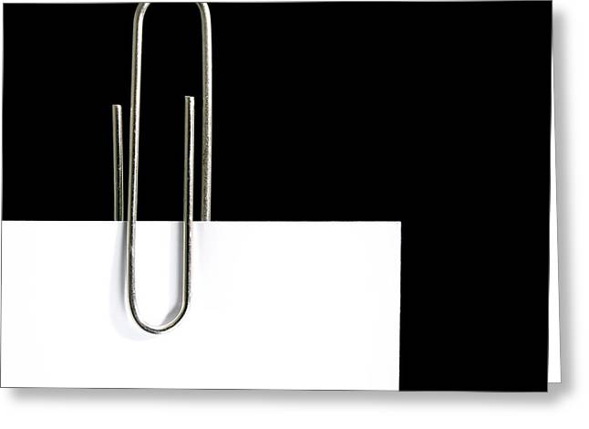 Attachment Greeting Cards - Paper clip Greeting Card by Sinisa Botas