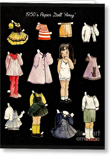 Pajamas Greeting Cards - Paper Doll Amy Greeting Card by Marilyn Smith