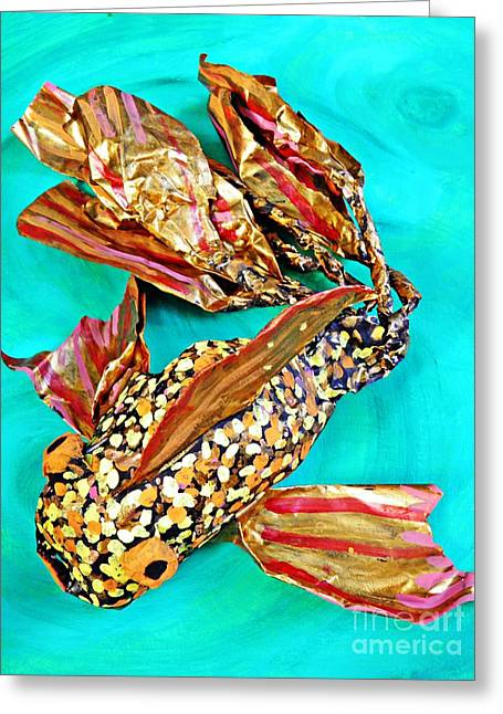 Animals Sculptures Greeting Cards - Paper Fish Greeting Card by Sarah Loft