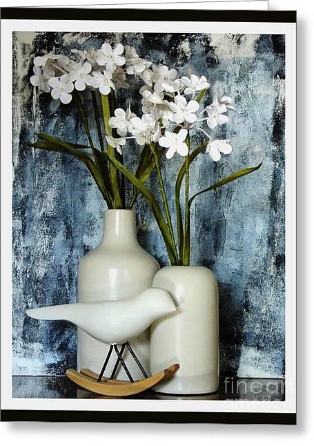Ceramic Digital Art Greeting Cards - Paper Flowers Greeting Card by Marsha Heiken