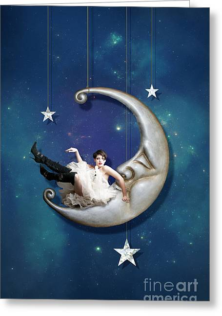 Man In The Moon Greeting Cards - Paper Moon  long narrow format Greeting Card by Linda Lees