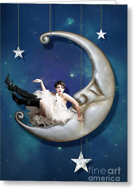 Moon Set Greeting Cards - Paper Moon Greeting Card by Linda Lees