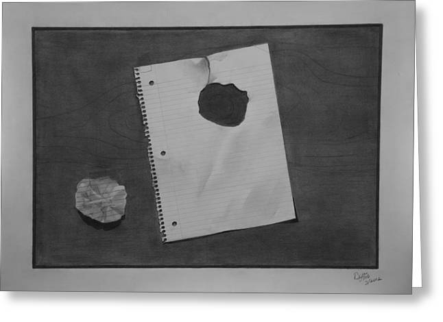 Wood Grain Drawings Greeting Cards - Paper over wood. Greeting Card by Byron Moss