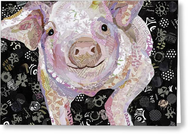 Piglets Mixed Media Greeting Cards - Paper Pig Greeting Card by Beth Watkins