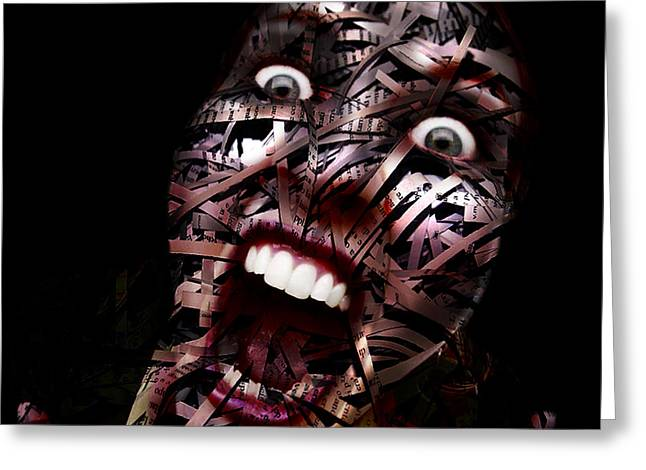 Weird Mixed Media Greeting Cards - Paper Shredder Face Greeting Card by Marian Voicu