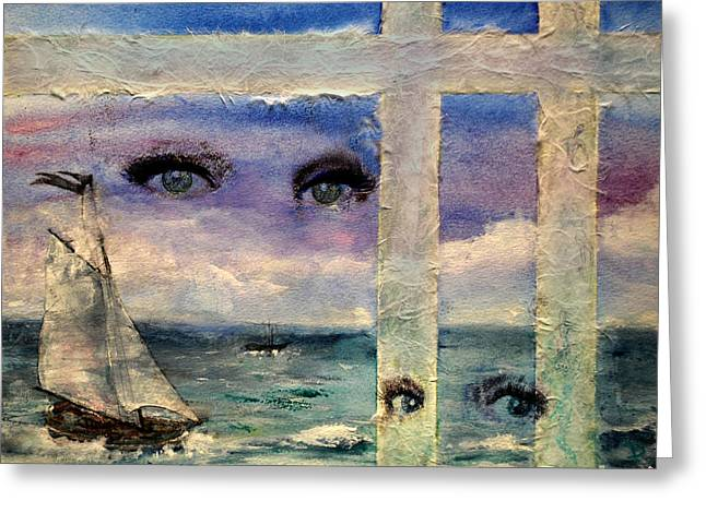 Ocean Sailing Greeting Cards - Paper Window 3 Greeting Card by Patricia Motley