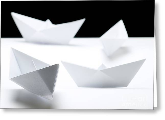 Toy Boat Greeting Cards - Papership fleet Greeting Card by Sinisa Botas