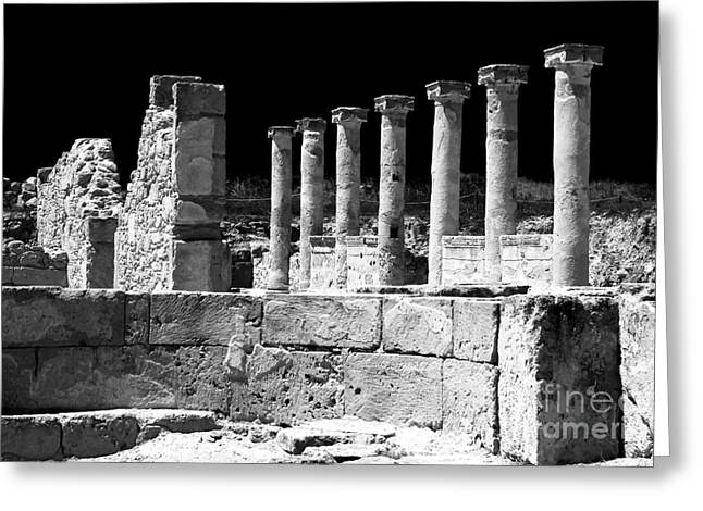 Ancient Ruins Greeting Cards - Paphos Columns Greeting Card by John Rizzuto
