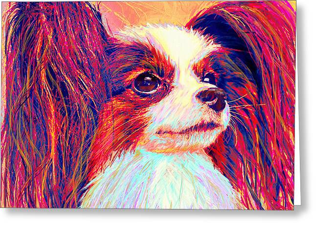 Puppy Digital Greeting Cards - papillion II Greeting Card by Jane Schnetlage
