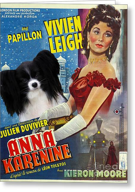 Dog Prints Greeting Cards - Papillon Art - Anna Karenine Movie Poster Greeting Card by Sandra Sij