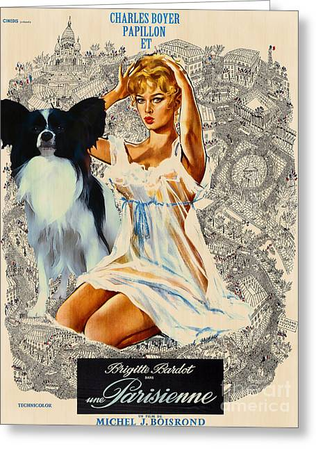 Parisienne Greeting Cards - Papillon Art - Una Parisienne Movie Poster Greeting Card by Sandra Sij