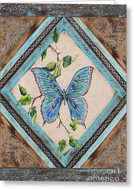 Print On Acrylic Greeting Cards - Papillon Bleu-JP2391 Greeting Card by Jean Plout