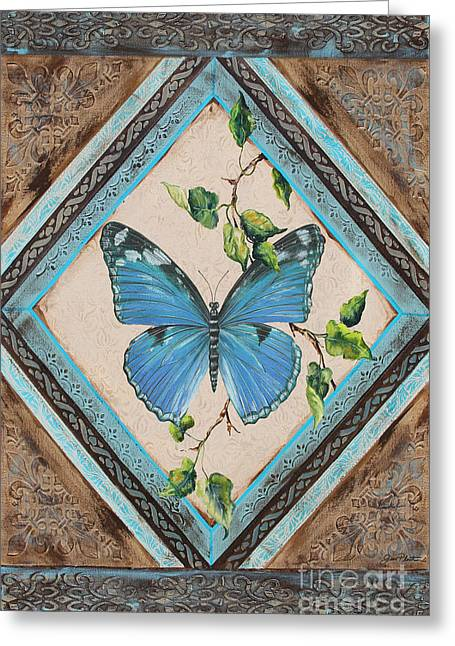 Print On Acrylic Greeting Cards - Papillon Bleu-JP2392 Greeting Card by Jean Plout