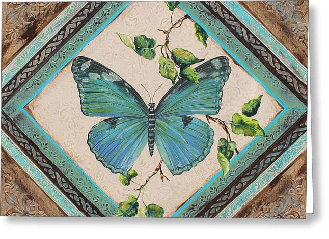 Print On Acrylic Greeting Cards - Papillon Bleu Vert-JP2395 Greeting Card by Jean Plout
