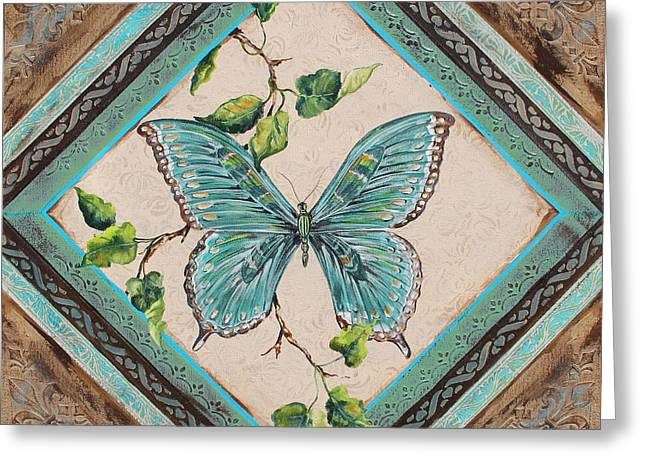 Print On Acrylic Greeting Cards - Papillon Bleu Vert-JP2396 Greeting Card by Jean Plout