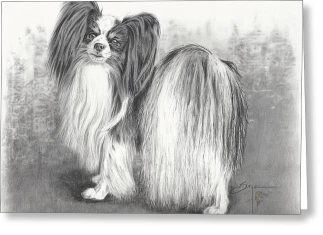 Painted Puppies Drawings Greeting Cards - Papillon Greeting Card by Elizabeth Sage