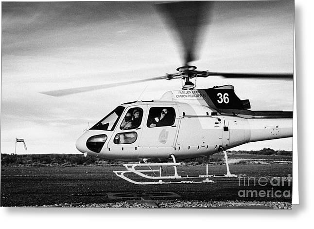 Helipad Greeting Cards - papillon helicopter tours full of passengers taking off from helipad Grand canyon west airport Arizo Greeting Card by Joe Fox