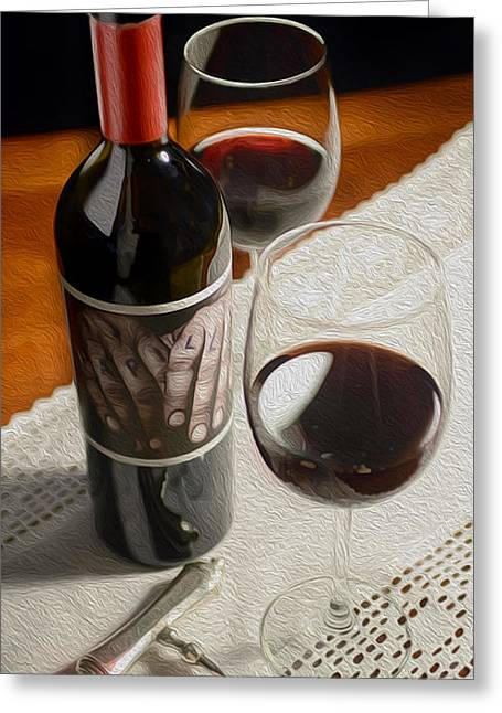 Red Wine Bottle Mixed Media Greeting Cards - Papillon Greeting Card by Jon Neidert