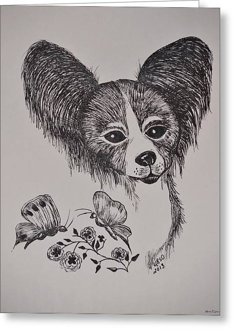 Toy Dog Drawings Greeting Cards - Papillon Greeting Card by Maria Urso