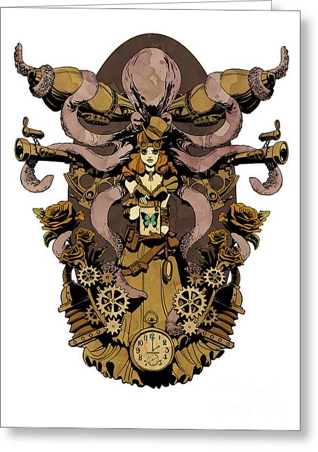 Octopus Greeting Cards - Papillon mecaniques Greeting Card by Brian Kesinger
