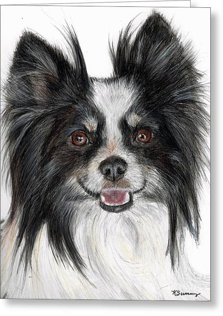 Character Portraits Pastels Greeting Cards - Papillon Painting Greeting Card by Kate Sumners