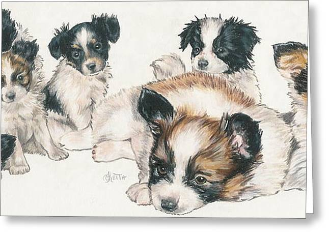 Toy Dogs Mixed Media Greeting Cards - Papillon Puppies Greeting Card by Barbara Keith