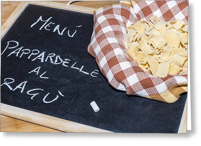 Menu Pyrography Greeting Cards - Pappardelle Greeting Card by Gianluca Pisano