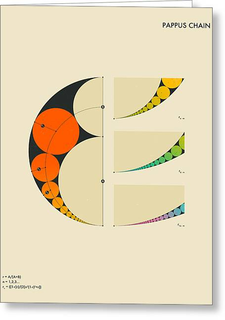 Geometric Art Greeting Cards - Pappus Chain Greeting Card by Jazzberry Blue