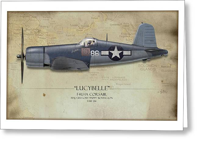 Squadron Greeting Cards - Pappy Boyington F4U Corsair - Map Background Greeting Card by Craig Tinder