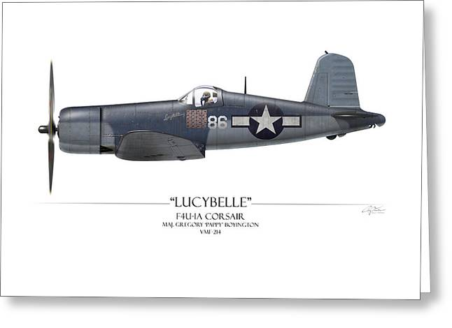 Bent Greeting Cards - Pappy Boyington F4U Corsair - White Background Greeting Card by Craig Tinder