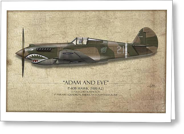 Red Tiger Greeting Cards - Pappy Boyington P-40 Warhawk - Map Background Greeting Card by Craig Tinder