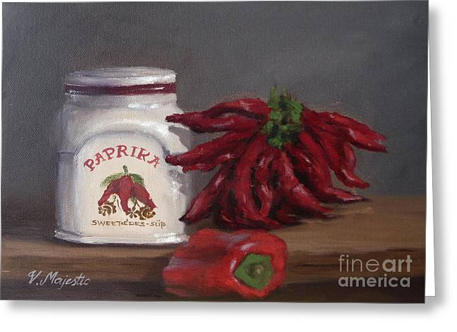 White Cloth Greeting Cards - Paprika Greeting Card by Viktoria K Majestic