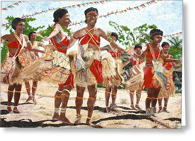 Technical Paintings Greeting Cards - Papua New Guinea Cultural Show Greeting Card by Carol Mallillin-Tsiatsios