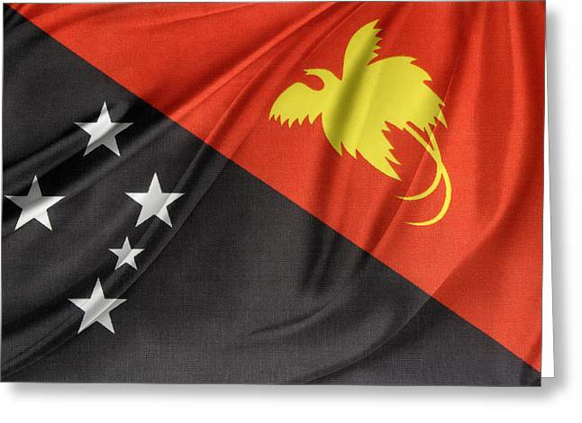 Waving Flag Greeting Cards - Papua New Guinea flag Greeting Card by Les Cunliffe